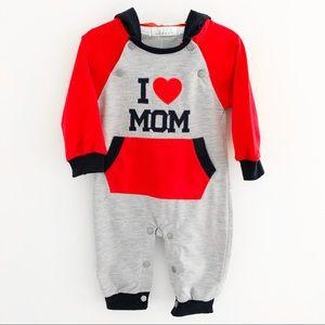 NWT I ❤️ Mom One Piece Hooded Jumper Sz 9M